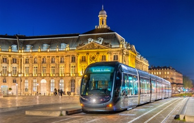 Tram on Place de la Bourse in Bordeaux, France