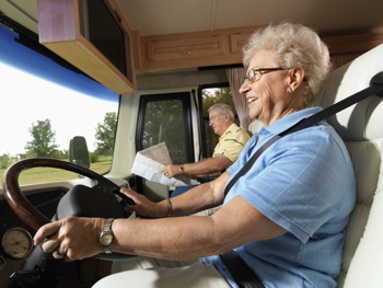 Older woman driving RV